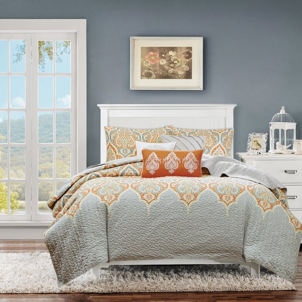 Madison Park Leah Orange Quilted 6 Piece Coverlet Set On
