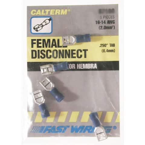 Calterm 61188 16-14 AWG Blue Female Disconnects 22-count