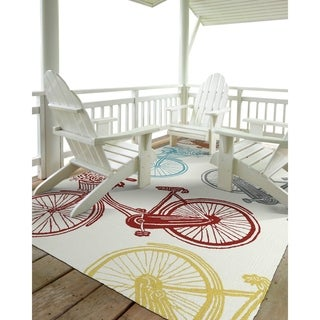 "Indoor/Outdoor Beachcomber Bicycle Multi Rug (7'6"" x 9'0)"