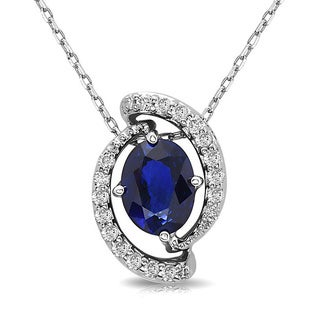 14k White Gold 2 1/10ct TGW Sapphire and 1/3ct TDW Diamond Pendant (H-I, SI1-SI2)