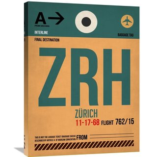 Naxart Studio 'ZRH Zurich Luggage Tag 1' Stretched Canvas Wall Art