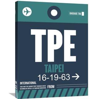 Naxart Studio 'TPE Taipei Luggage Tag 1' Framed Stretched Canvas Wall Art