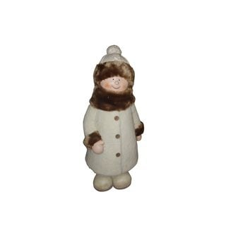 "29"" Girl with White/Brown Coat and Hat Standing Statuary"