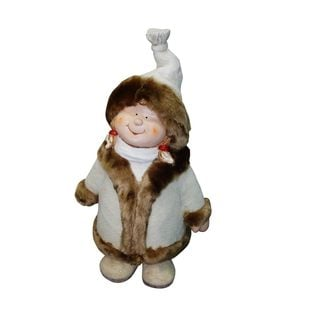 "22"" Girl with White/Brown Coat and Hat Standing Statuary"