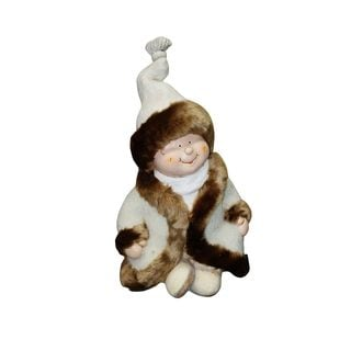 """19"""" Boy with White/Brown Coat statuary"""