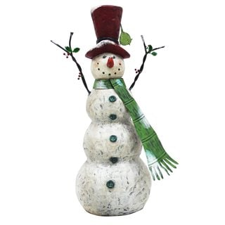 "Christmas 30"" Tall Snowman with Green Scarf"