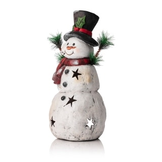 Christmas 22-inch Snowman Statuary with Black Stars