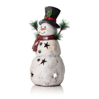 Alpine Christmas Snowman Statuary w/ Black Stars, 22 Inch Tall