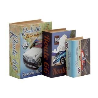 Wood Canvas Book Box (Set of 3)