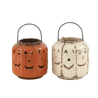 White and Orange Ceramic Fall Lanterns 2 ct.
