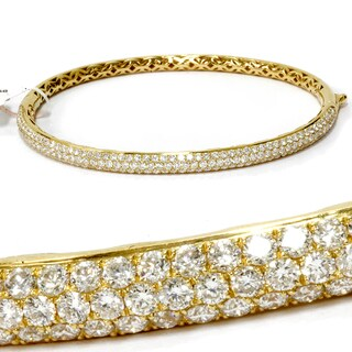 18k Yellow Gold 2 5/8ct TDW Pave Diamond Bangle Cuff Bracelet (F, VVS)