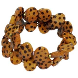 Handmade Kalahari Gold Cheetah Pattern Ceramic Bead Wrap Bracelet (Kenya)