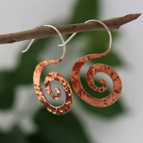 Handmade Copper Hammered Swirl Earrings by Spirit (Indonesia)