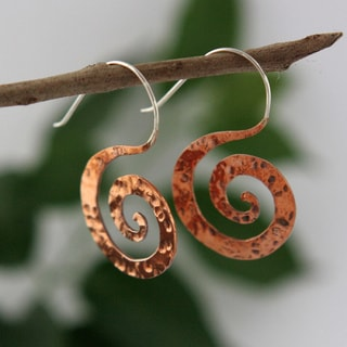 Spirit Tribal Fusion Copper Swirl Hooked Earrings (Indonesia)