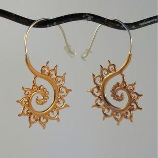 Spirit Tribal Fusion Copper Fibonacci Fractal Earrings (Indonesia)