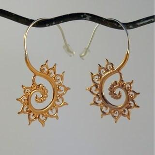 Handmade Spirit Tribal Fusion Copper Fibonacci Fractal Earrings (Indonesia)