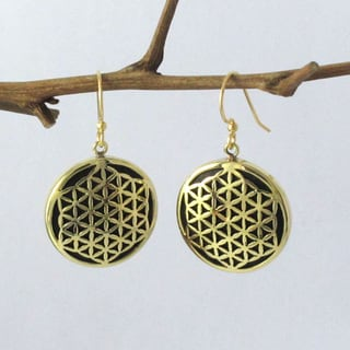 Handmade Spirit 'Flower of Life' Overlay Earrings (Indonesia)