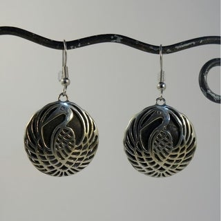 Spirit Tribal Fusion Swinging Stork Dangle Earrings (Indonesia)