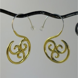 Spirit Tribal Fusion Triskelion Brass Earrings (Indonesia)