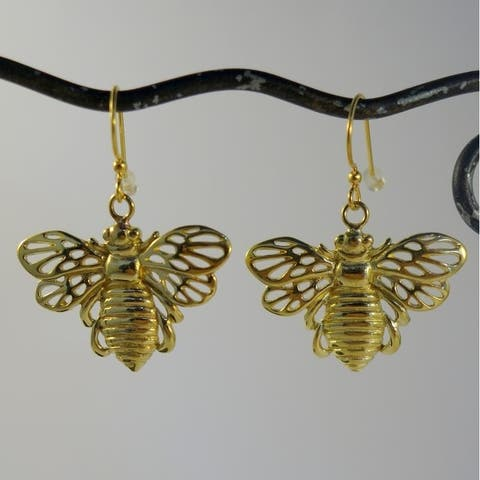 Handmade Brass Bumble Bee Earrings by Spirit (Indonesia)