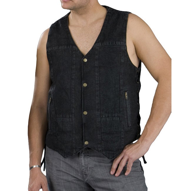 Men's 10-pocket Side Lace Denim Vest (2XL), Black