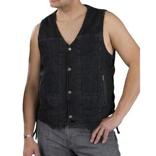 Men's 10-pocket Side Lace Denim Vest