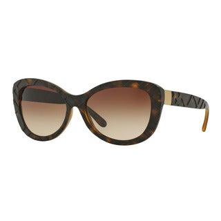 Burberry Women's BE4217 357813 Havana Plastic Butterfly Sunglasses