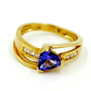 14k Yellow Gold 1/8ct TDW Tanzanite and Diamond Fashion Ring (G-H, I1)