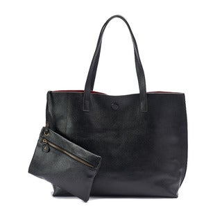 Leather To Suede Reversible Tote Bag and Removable Wristlet