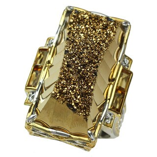Michael Valitutti Cushion Cabochon Golden Druzy with Baguette Citrine Ring