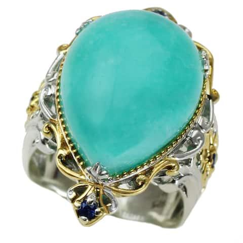 Michael Valitutti Pear Cabochon Amazonite with Blue Sapphire Ring