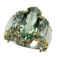 Michael Valitutti Three Stone Green Amethyst Ring