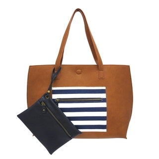 Faux Leather Reversible Tote Bag With Detachable Zippered Pouch