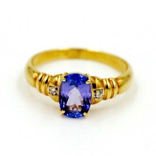 14k Yellow Gold Tanzanite and Diamond Fashion Ring