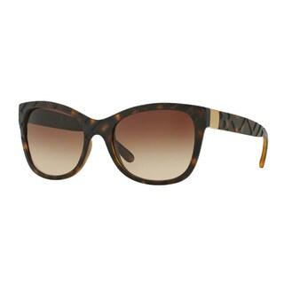 Burberry Women's BE4219 357813 Havana Plastic Square Sunglasses