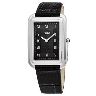 Fendi Men's F700011011 'Classico Rectangle' Black Dial Black Leather Swiss Quartz Watch