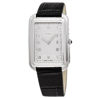 Fendi Men's F700016011 'Classico Rectangle' Silver Dial Black Leather Swiss Quartz Watch