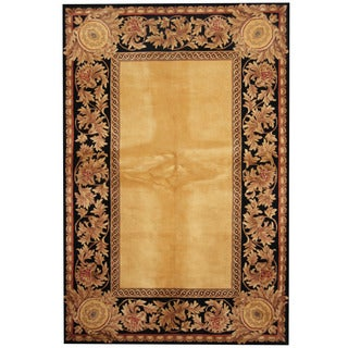 Herat Oriental Indo Hand-tufted Aubusson Gold/ Black Wool Area Rug (5'4 x 8')