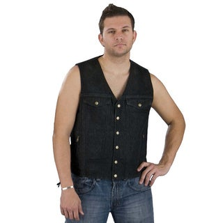 Men's Blue/Black Denim Cotton Side Lace Vest With Chest Pockets