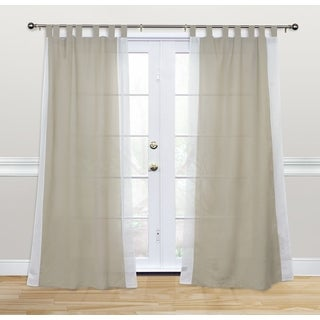 Kosas Home Harvey 84-inch White Cotton and Linen Tab-top Curtain Panel