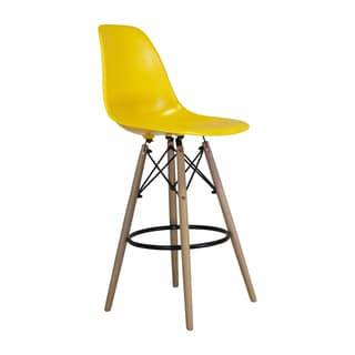 Eames Style Yellow Counter Stool, Mid-century Modern