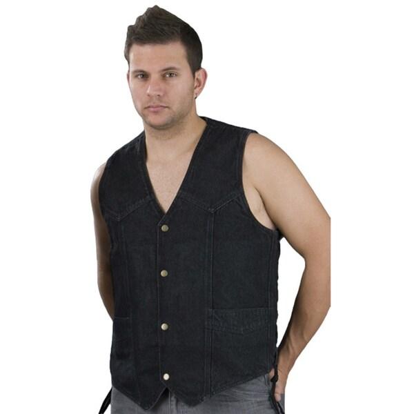 Mens Classic Snap-front Side-lace Black/Blue Denim Vest