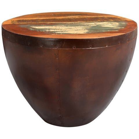 """Handmade Thrum Copper Tone End Table with Wood Top - 18"""" x 24"""" x 24"""" (India)"""