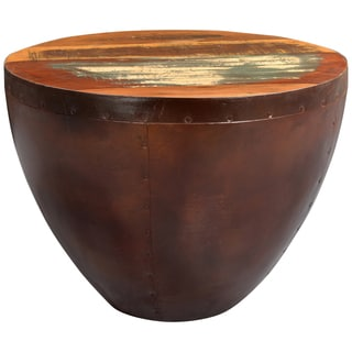 Porter Thrum Copper Tone Round End Table with Reclaimed Wooden Top