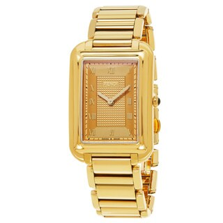 Fendi Men's F701415000 'Classico Rectangle' Goldtone Dial Goldtone Stainless Steel Swiss Quartz Watch
