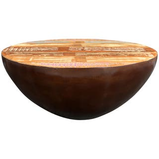 Wanderloot Thrum Copper Tone Reclaimed Wood Round Coffee Table|https://ak1.ostkcdn.com/images/products/11820465/P18726318.jpg?impolicy=medium
