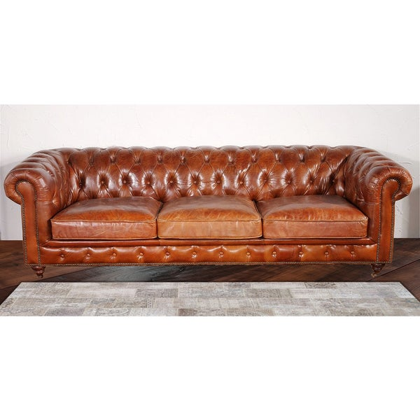 Attrayant Pasargad Genuine Leather Chester Bay Tufted Sofa