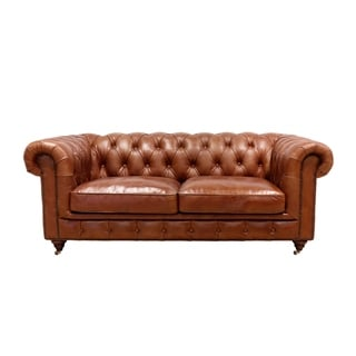 Pasargad Home Genuine Leather Chester Bay Tufted Loveseat or Sofa
