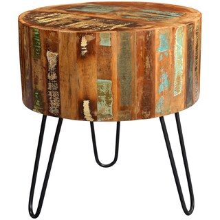 Handmade Wanderloot Tulsa Round Reclaimed Wood End Table with Hairpin Legs (India)