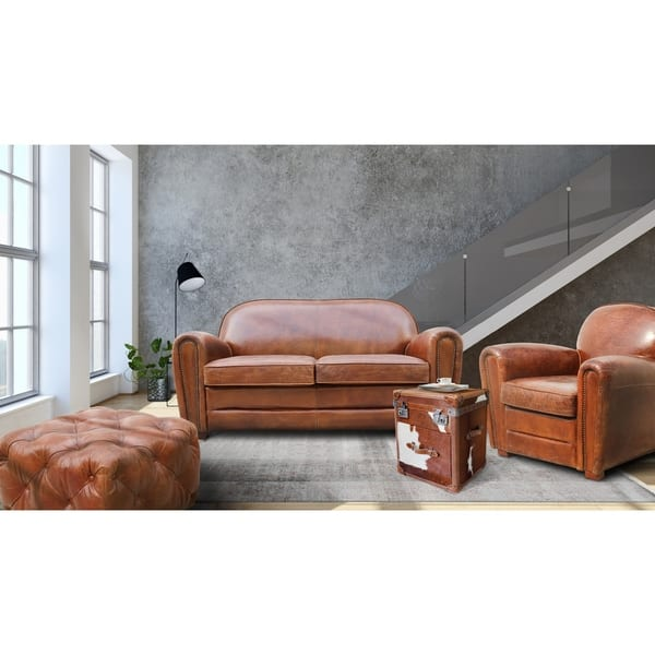 Incredible Shop Pasargad Home Paris Club Genuine Leather Loveseat On Frankydiablos Diy Chair Ideas Frankydiabloscom